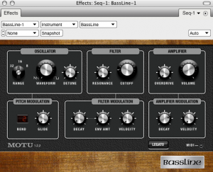 Digital Performer 6: Bassline monophoner Synthesizer