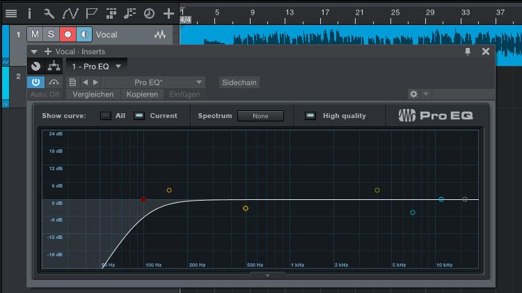 Low-Cut-Filter zum Entfernen ungewollter Bass-Frequenzen