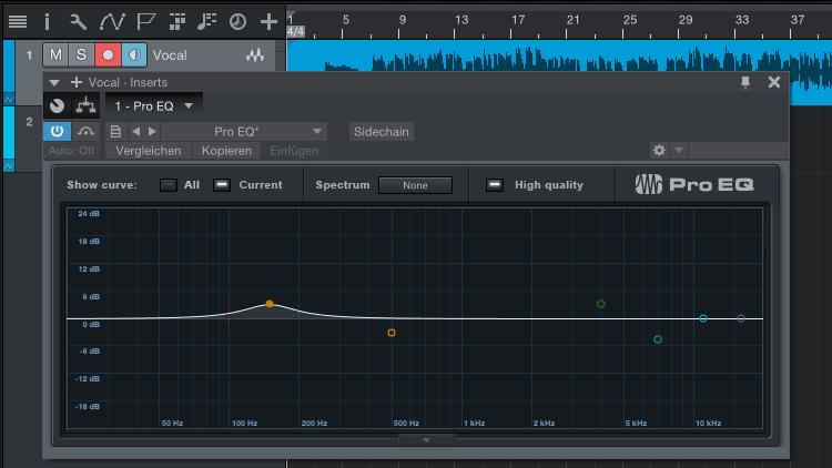 Anhebung bei 150 Hz für mehr Körper