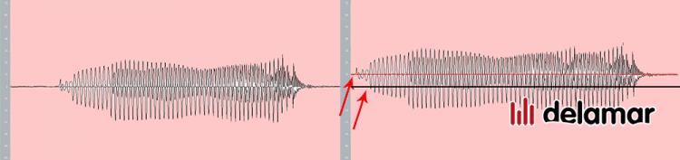 Die Welle ist nicht coaxial auf dem Nullpunkt bei Aufnahmen mit DC Offset