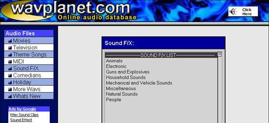 Soundeffekte & SFX kostenlos bei Wavplanet