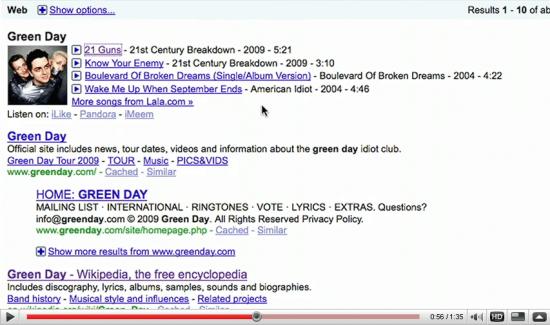 Google Musiksuche wird vor den normalen Ergebnissen angezeigt