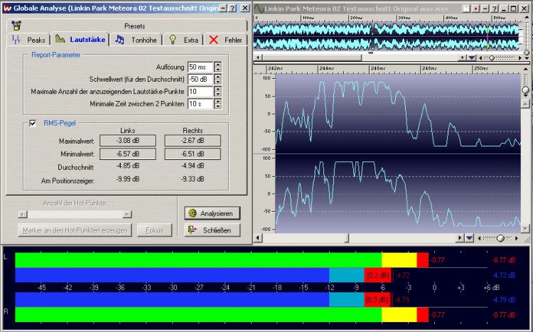 """Diese Abbildung zeigt einen mit durchschnittlich ca. minus 5dB/RMS recht laut gemasterten Titel von Linkin Park´s Album """"Meteora"""" (die durchschnittliche Lautheit ist sowohl der Globalen Analyse, als auch dem Lautheitsmetering = blaue Balken zu entnehmen). Es sind deutliche Vollaussteuerungsketten zu erkennen, die unbedingt zu vermeiden sind. Der Engineer (Brian """"Big Bass"""" Gardner aus dem Bernie Grundman Mastering Studio) hat wohl wissend der Gefahren weiterer Artefakte durch mp3-Codierung, einen Headroom von minus 0,77 dB (gesamter Song) eingehalten (roter Wert am Peakmeter). Das ist leider selbst bei Topmasterings nicht immer der Fall. Die Pleasurize Music Foundation empfiehlt einen Headroom von 0,3 dB zur Vollaussteuerung."""
