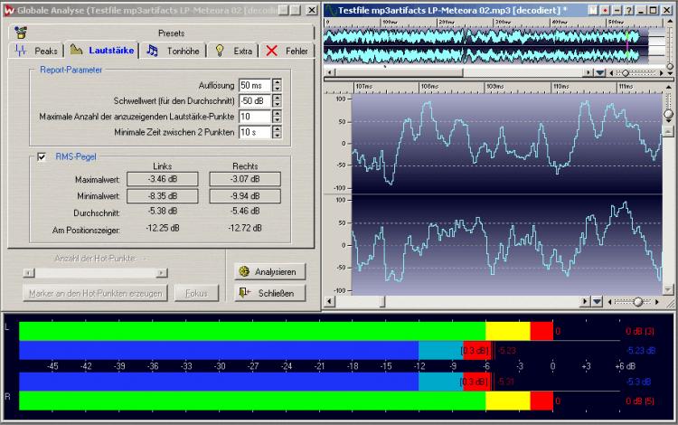 Dies ist der gleiche Ausschnitt, der zuvor in mp3 encodiert und zur Analyse wieder decodiert wurde. Die durch die Datenreduktion weggenommenen Informationen wirken sich reduzierend auf die durchschnittliche Lautheit aus – der gleiche Ausschnitt ist ca. 0,5 dB/RMS leiser. Das Metering zeigt rechts neben der roten 0 dB-Headroom-Anzeige die gezählten Übersteuerungswerte an. Diese führen auf der Endverbraucherabhöre unweigerlich zu Verzerrungsartefakten. 0,77 dB Headroom haben nicht ausgereicht, das Master in der Encodierungsvariante vor Übersteuerungen zu schützen.  Wäre die Musik nicht viel schöner, wenn sich die performte Dynamik auch als akustische Dynamik widerspiegeln würde? Wer es laut braucht, muss nur das Mastervolume hochdrehen.