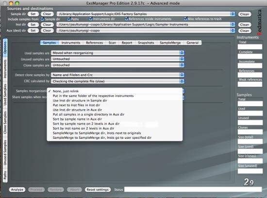 Weitere Optionen im EXS Manager Pro