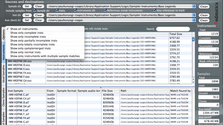 Aufräumen der Samples im EXS Manager Pro