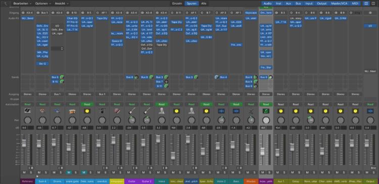 Die Mixer-Ansicht in einer DAW Software (hier: Apple Logic Pro X) - Abmischen Tutorial
