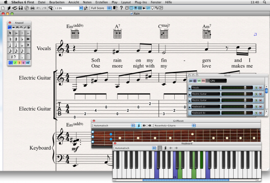 Musiknotation und Kompositionssoftware AVID Sibelius First