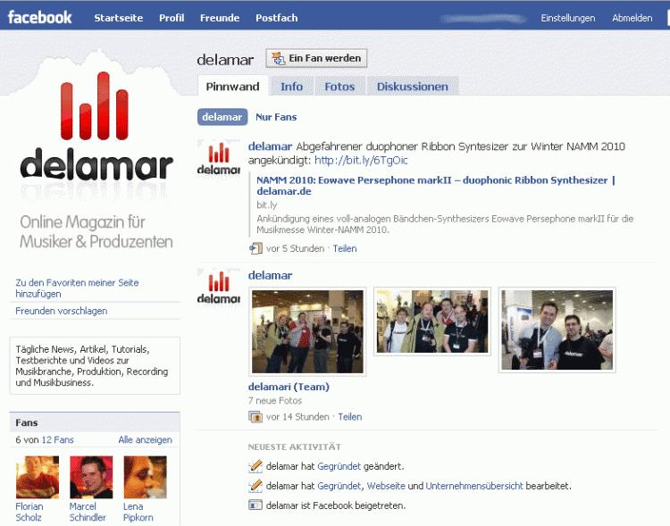 Die delamar Facebook Fanseite für delamari