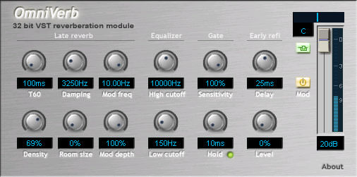 Omniverb free VST Plugin Hall Reverb Room