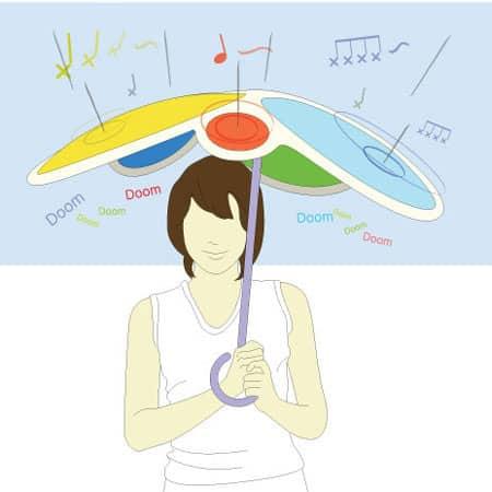 Rain Drum der trommelnde Regenschirm