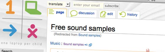 Die Webseite der free Samples beim OLPC