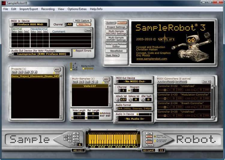 Hauptfenster von SampleRobot Testbericht