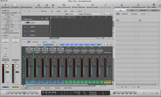 Mit Shortcuts lassen sich Fenster ein und ausblenden - Logic Studio 9 Tutorial