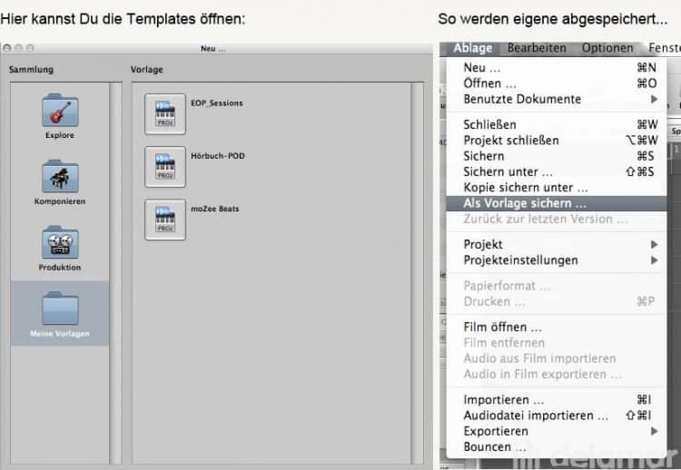 Laden und Speichern von Templates in Logic Studio und Logic Express