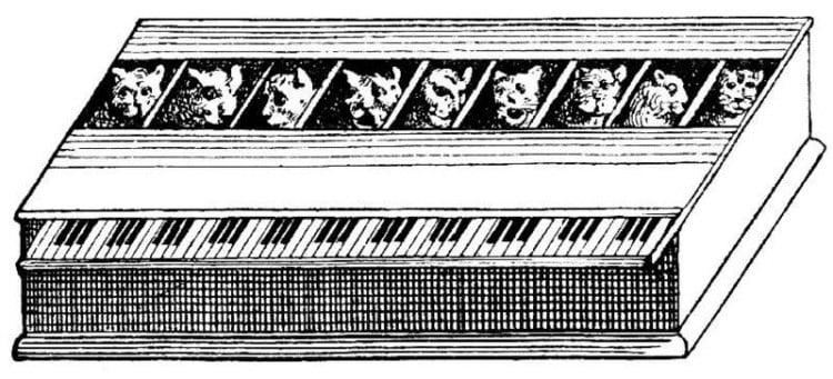 Das Katzenklavier von Athanasius Kircher, aus »Musurgia Naturalis« von Gaspar Schott (1657)
