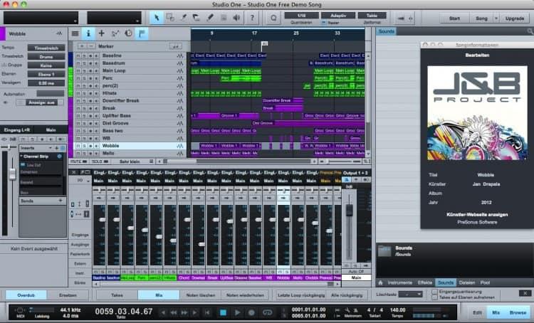 Bestes Musikprogramm für Singer/Songwriter - PreSonus Studio One Free