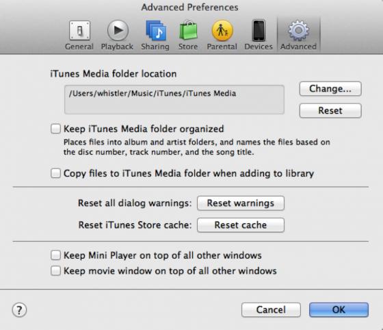 Einstellungen für den Import in iTunes