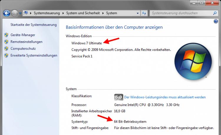 Homestudio einrichten unter Windows - Betriebssystem identifizieren