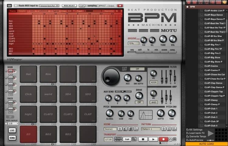 MOTU BPM - Im MPC-Stil Beats erstellen: Programm bei diesem Werkzeug