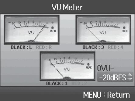 VU-Meter auf dem Display des Zoom H6