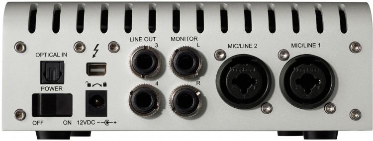 Anschlüsse an der Rückseite des Universal Audio Apollo Twin