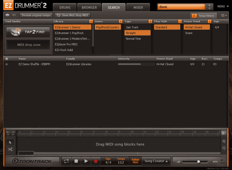 Toontrack EZdrummer 2 Review - Browser & Library