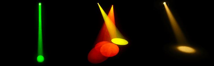 Vergleich Beam, Spot  und Wash (v.l.n.r. - Bilder: Chauvet DJ)