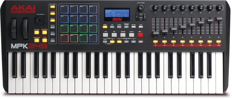 Keyboard Controller: Die besten MIDI Keyboards mit Potis, Pads & Fadern unter 400 Euro - Akai MPK 249