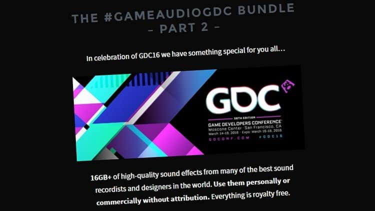Freware Friday: Soniss GDC 2016 Bundle Part 2 - Knapp 15 GB Free Samples!