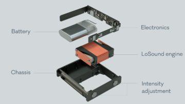 LoSound Modul und Batterie, umgeben von der Elektronik.