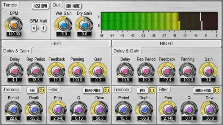 Userinterface des Voxengo Tempo Delay 2 Plugins.
