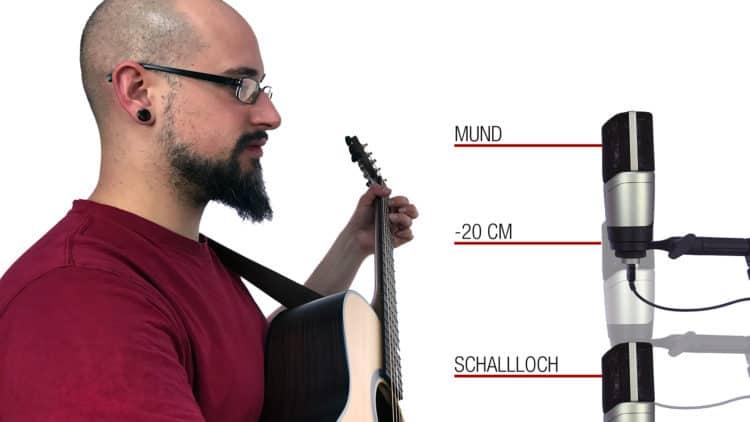 Gitarre und Gesang gleichzeitig mit einem Mikrofon aufnehmen