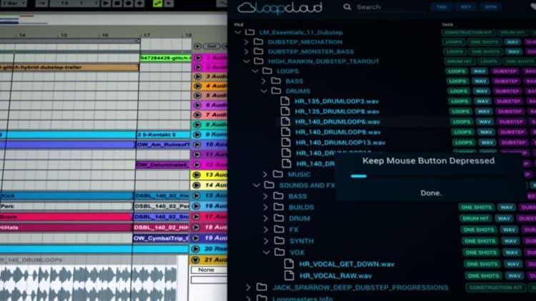 Befördere mit der Loopmasters Loopcloud Sounds einfach per Drag-and-Drop in dein DAW-Projekt.
