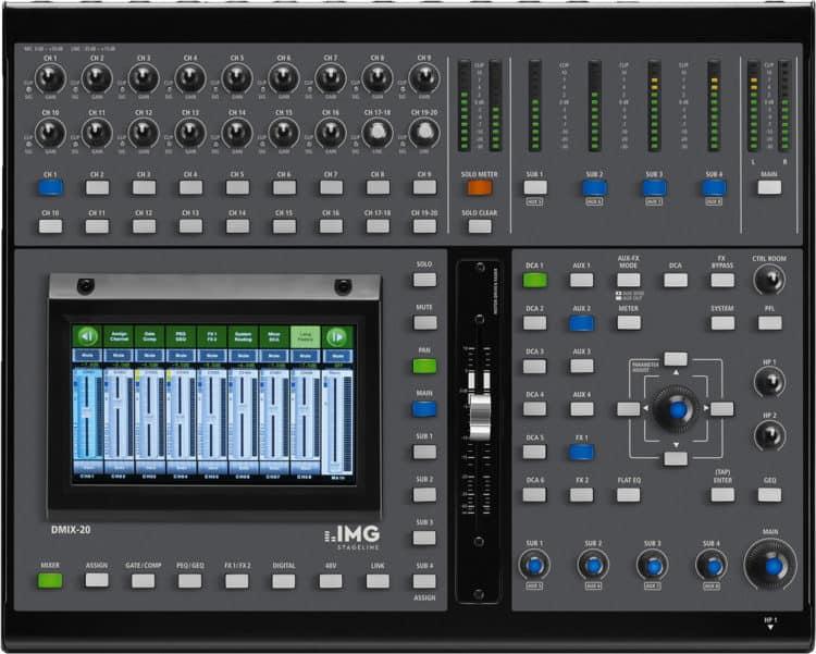 IMG STAGELINE DMIX-20 - Bedienfeld & Touchscreen oben