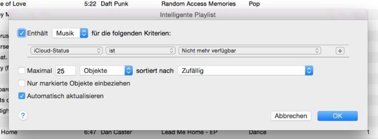 In den Darstellungsoptionen lässt sich der iCloud-Status »nicht mehr verfügbar« einstellen.