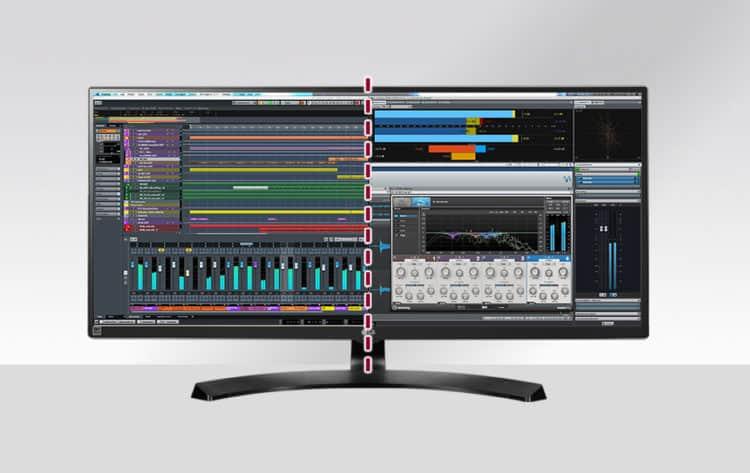 Screen-split auf dem Bildschirm für Musiker
