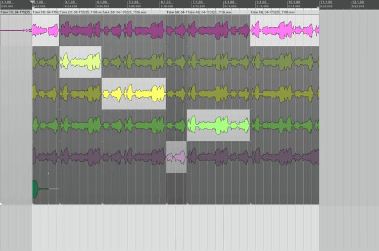 Comping Gitarrensolo - Ausschnitte in Takes selektiert