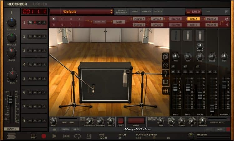 IK Multimedia AmpliTube 4 Test - Mixer für die virtuellen Mikrofonsignale