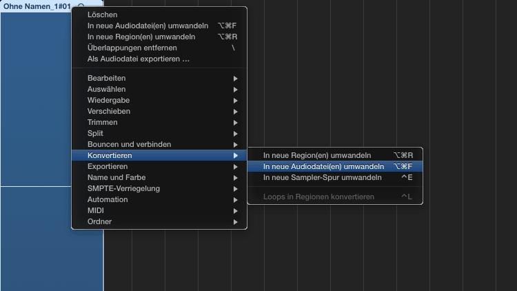 Logic Pro X - Mikro Aufnahme Fehler - Kontextmenü