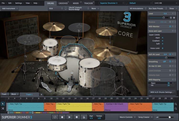 Die Hauptansicht mit dem Drumt Kit in Toontrack Superior Drummer 3