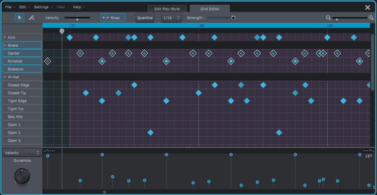 Grid Editor in Superior Drummer 3 von Toontrack
