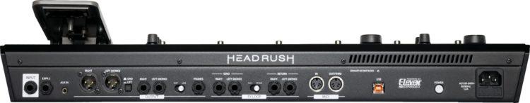 Rückseite des HeadRush Pedalboard mit allen Anschlüssen