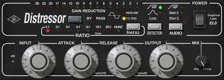 Der komplette Mix saturiert mit dem Drums komprimiert mit dem UAD Empirical Labs Distressor