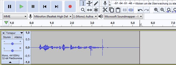 Wenn Du dein Mikrofon anschließen und damit aufnehmen konntest, sieht das in Audacity ungefähr so aus