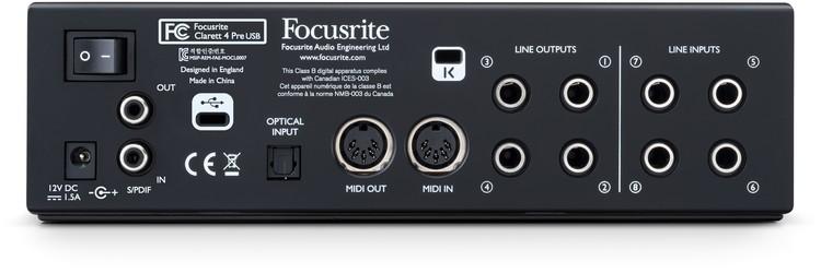 Eingänge & Ausgänge (Rückseite) - Focusrite Clarett 4Pre USB