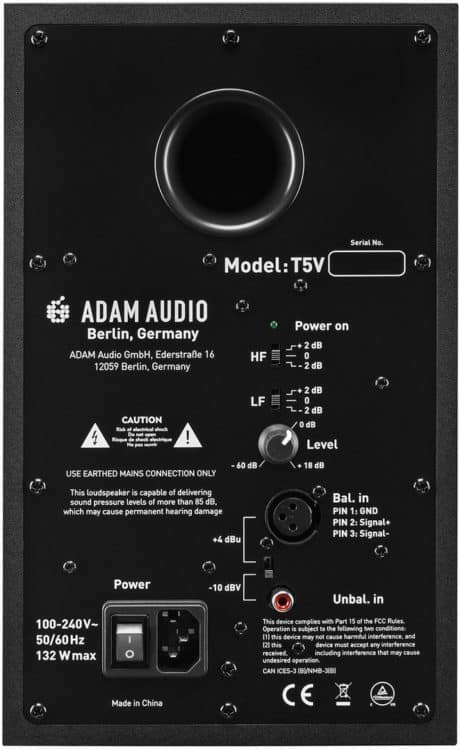 Rückseite des Studiomonitors - Adam T5V Review