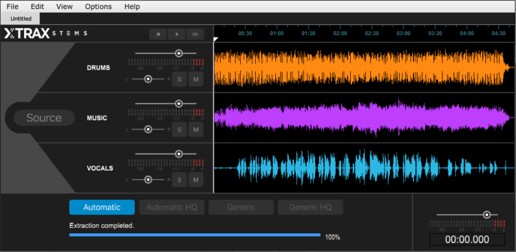 Die GUI der Software im Review: Audionamix Xtrax Stems