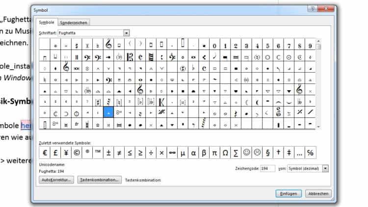 Musik-Note - Zeichen (Tastatur)