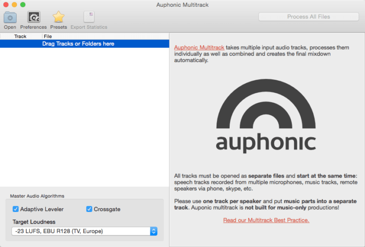 Auphonic Multitrack Processor - Podcast Software
